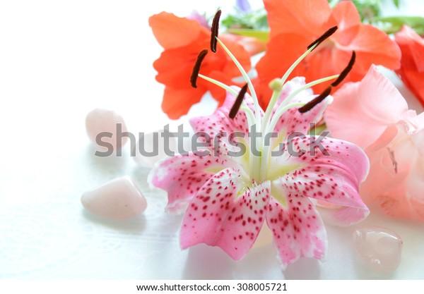 pink tiger lily in arrangement