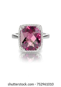 Pink tourmaline cushion cut halo ring isolated on white