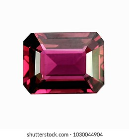 Pink tourmaline octagon shape with white background