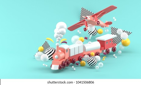 Pink toy train and plane Among the colorful balls on the blue background.-3d render.