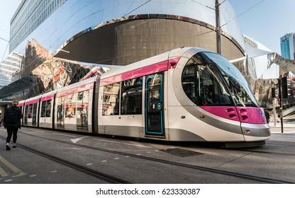 Pink trams in Birmingham, UK