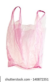 Pink, transparent, plastic bag with clipping path. Backlit without shadow.