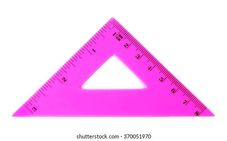Pink triangle ruler, isolated on white