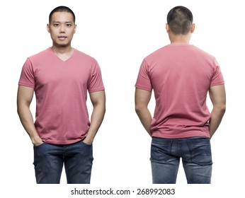 Pink t-shirt on a young man isolated front and back-Studio Shot