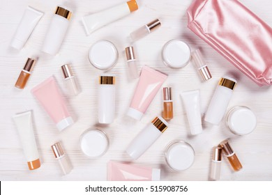 pink tubes on the white background. Place for your text.