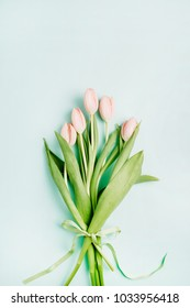 Pink tulip flowers bouquet on blue background. Flat lay, top view. Minimal spring floral concept.