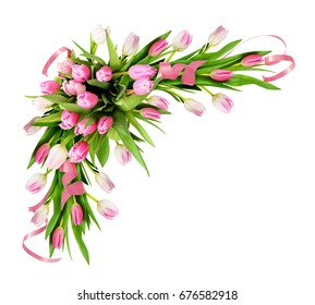 Pink tulip flowers and ribbons corner arrangement isolated on white