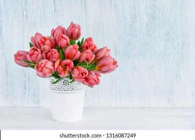 Pink tulips bouquet in white vase on blue background. Greeting card, copy space. Valentine Day, Birthday, Mothers day concept.