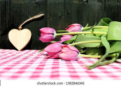 Pink tulips on a checked table cloth, dark green wooden wall in the background
