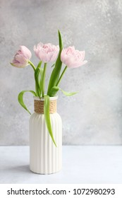 Pink tulips in a white vase. Light background