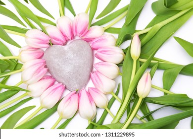 Pink tulipy with heart, copy space