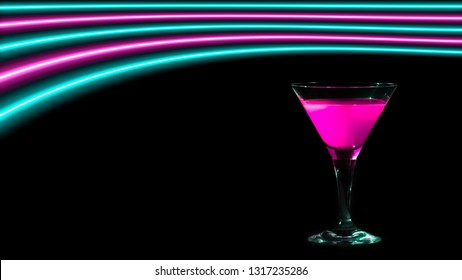Pink and turquoise neon lights over a cocktail drinking glass. Colorful modern party background with copy space.