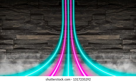 Pink and turquoise neon lights warped over a stone wall. Colorful modern party background with copy space.