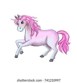 Pink unicorn isolated on white background. Imitation watercolor. Illustration. Digital art. Template