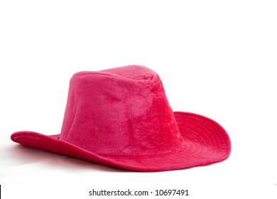 Pink velvet cowboy hat isolated on white background