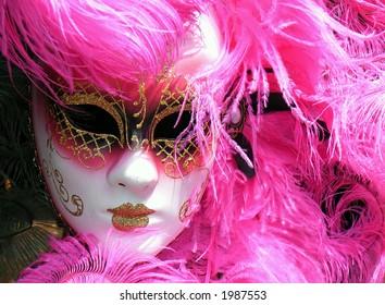 Pink Venetian Mask used in Carnivals (Mardi Gras) in Italy