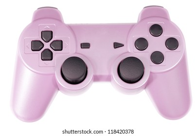 Pink Video Game Controller Isolated on White