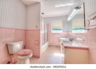 Pink Vintage Bathroom