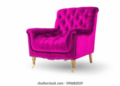 Pink vintage luxury armchair on white background -Clipping Path