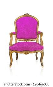 Pink vintage style sofa isolated on white background.