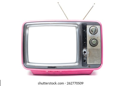 Pink Vintage TV on the isolated white background