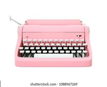 pink vintage typewriter isolated on white. 3d illustration