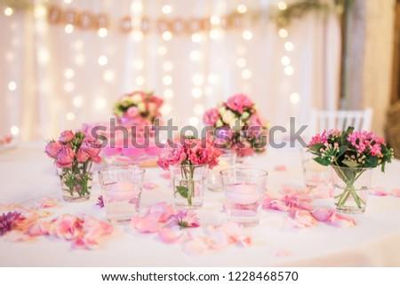 Pink Vintage Wedding Reception Table Decoration Stock Photo Edit