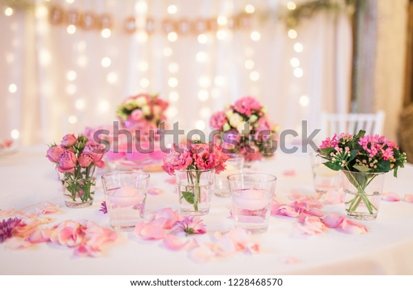 Pink Vintage Wedding Reception Table Decoration Stock Photo