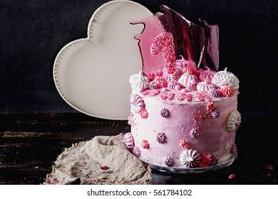 Pink And Violet Fancy Birthday Cake Decorated With Caramel Meringues Marshmallows