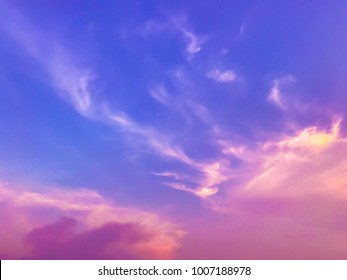 Pink violet sky at sunset nature outdoor