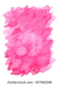 Pink violet water color paint rough edge square shape texture on white background