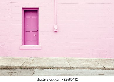 pink wall door sidewalk background