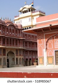 Pink walled inner buildings of  City Palace of  Jaipur, Rajasthan,  India