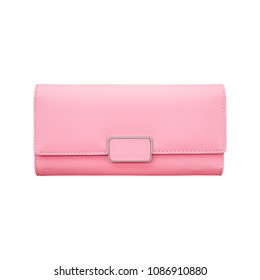 Pink wallet isolated on white background.