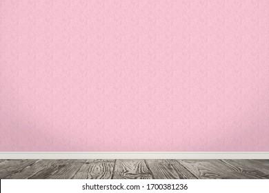 Pink wallpaper and wooden floor in room
