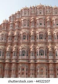 Pink walls of the Hawa Mahal, Palace of the Winds,   Jaipur, Rajasthan,  India