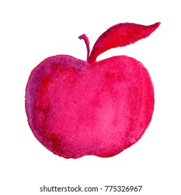 Pink Watercolor Apple Illustration Hand Drawn Isolated on White Background