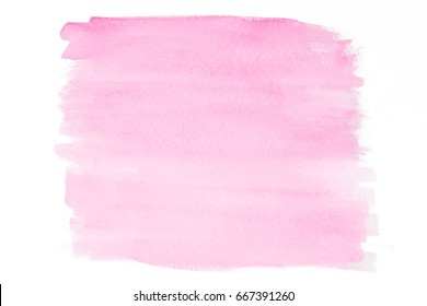 Pink watercolor aquarelle splash drawn on white background for design or maket or illustration