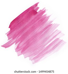 Pink watercolor brush strokes on white background. Copy space for text.