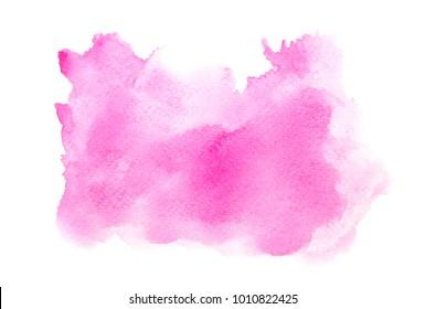 pink watercolor splashing stroke isolated on white background.image