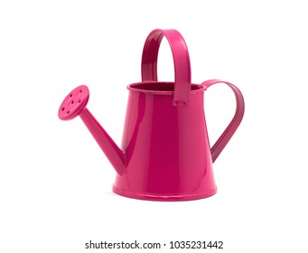 Pink watering can isolated on a white background