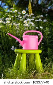 Pink watering can on a background of daisies. Device for watering the flowers on a green chair
