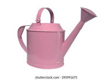 Pink watering can, pot on white background