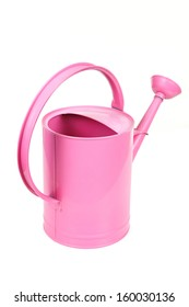 Pink watering-can on a white background