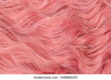 Pink wavy hair pattern. Top view.