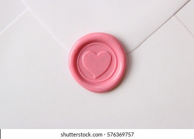 Pink Wax Seal Heart on Envelope