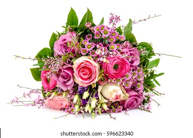 Pink wedding bouquet isolated on a white background