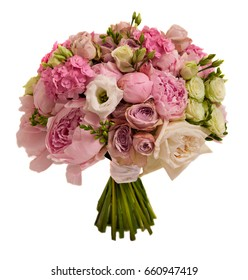 pink wedding bouquet with roses and peony isolated on white