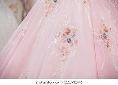 Pink wedding dress and bride