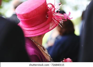 pink wedding guest hat